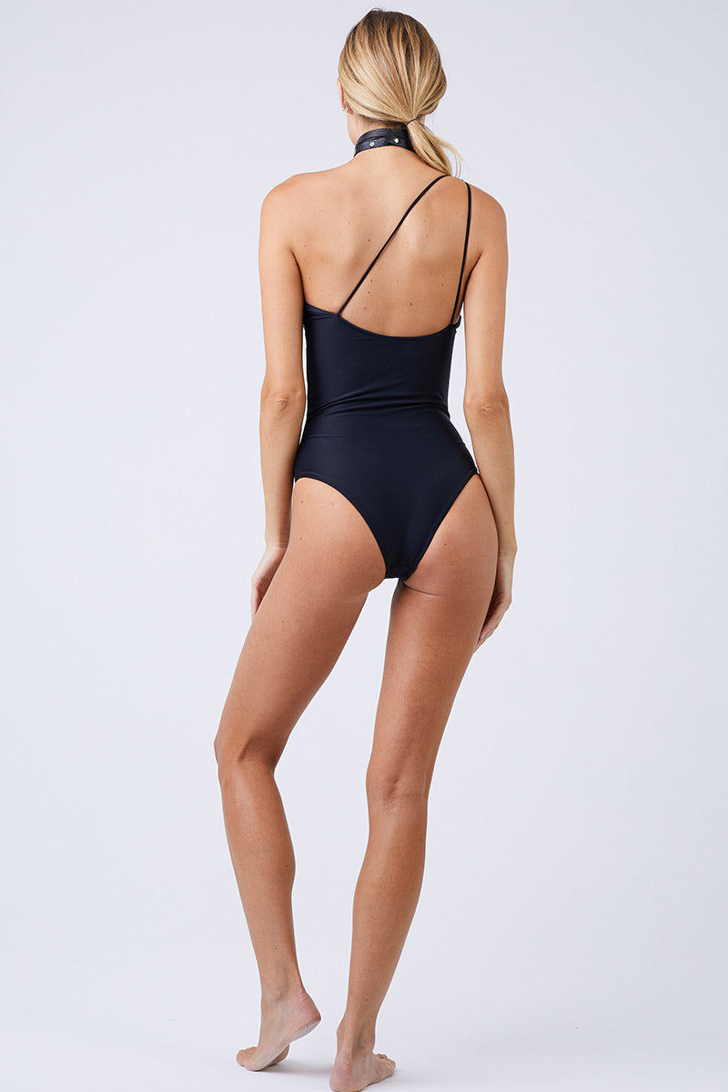 JADE SWIM Apex One Shoulder One Piece Swimsuit - Black One Piece | Black|Jade Swim Apex One Shoulder One Piece Swimsuit - Black  Asymmetrical One Shoulder One Piece Swimsuit Classic Black Thin Double Back Straps Cheeky to Moderate Coverage Back View