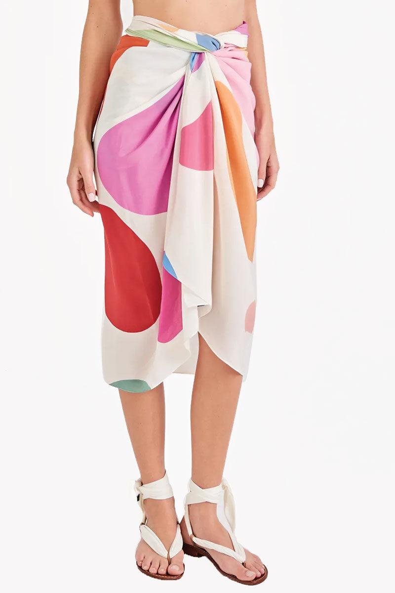 TRIYA Sarong - Artsy Color Print Cover Up | Artsy Color Print| Triya Sarong - Artsy Color Print Sarong cover up Front View