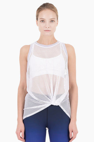 NYLORA Ethan Front Knot Tank - White/Lilac Top | White/Lilac| Nylora Ethan Front Knot Tank - White/Lilac See through tank top  Front knot tie  Racerback Front View
