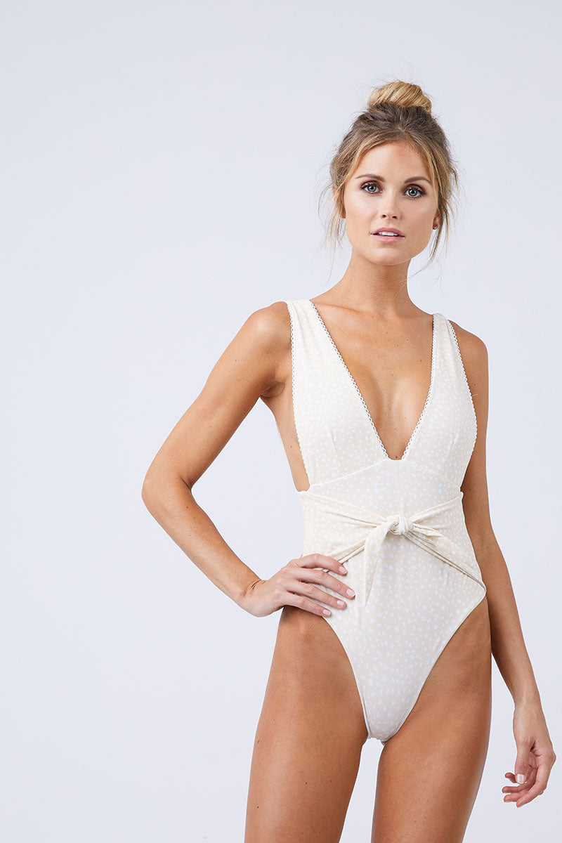 100% original great deals 2017 Discover Plunging Front Tie One Piece Swimsuit - Sand White