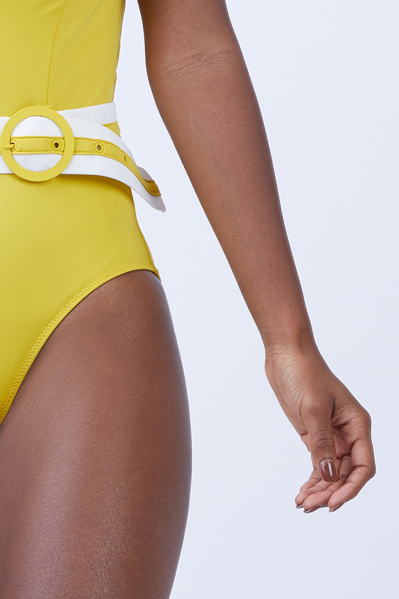 2395b9243f3ed ... SOLID   STRIPED The Victoria Belted One Piece Swimsuit - Mustard Yellow  One Piece