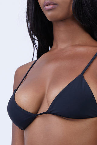ABYSSE Dawn Strappy Back Bikini Top - Black Bikini Top |  Black| Abysse Dawn Strappy Back Bikini Top -Features:  Comfortable yet cheeky cup Back detail Flat Straps Dry Fast and UV protective Resistant to chlorine, suntan creams and oils Front View