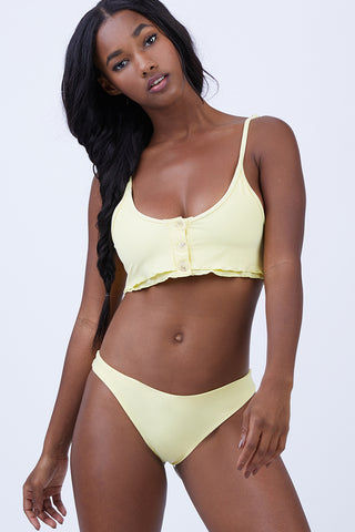 KAOHS Kendall Button Up Bikini Top - Yellow Bikini Top | Yellow| Kendall Button Up Bikini Top - Yellow Features:  Can be worn as crop top Button front detail Seamless fabric 80% nylon / 20% spandex Made in Los Angeles, California Wash in cold, dry in shade Front View
