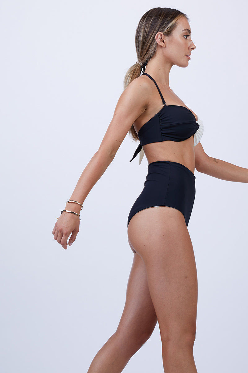 MARA HOFFMAN Lydia Bottom Bikini Bottom | Black Cream| Mara Hoffman Lydia Bottom Black and cream color blocked bikini bottom. High waisted and moderate to full coverage.
