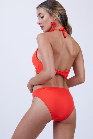 JETS Twist Front Bikini Bottom - Flame Bikini Bottom | Flame|Twist Front Bikini Bottom - Features:  Regular coverage pant Front detailing with an asymmetrical twist