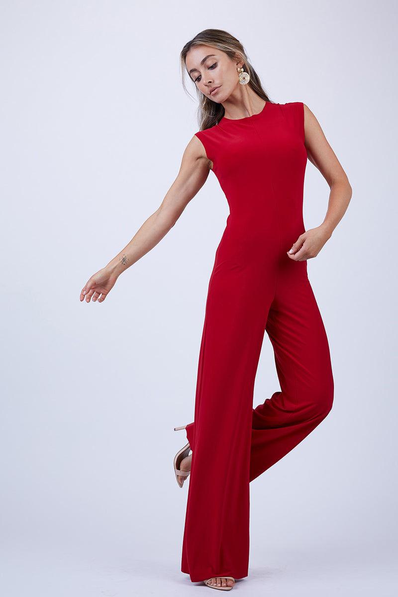 NORMA KAMALI Sleeveless High Crewneck Jumpsuit - Red Jumpsuit   Red  Norma Kamali Sleeveless High Crewneck Jumpsuit - Red Front View Sleeveless Jumpsuit  Wide Flowy Pant Legs Back Zipper Closure