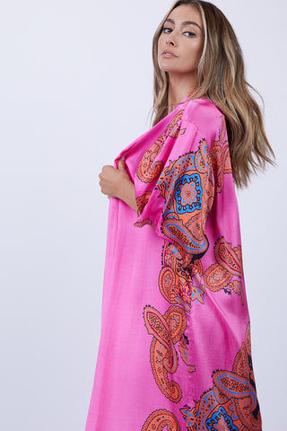 LENNI Roxi Kimono - Scarf Cover Up | Scarf| Lenni Roxi Full Length Kimono - Scarf. Side View. Features:  Hand-printed pink scarf  Full length falls at ankles Side Slits for ease of movement and flow Wide Sleeves