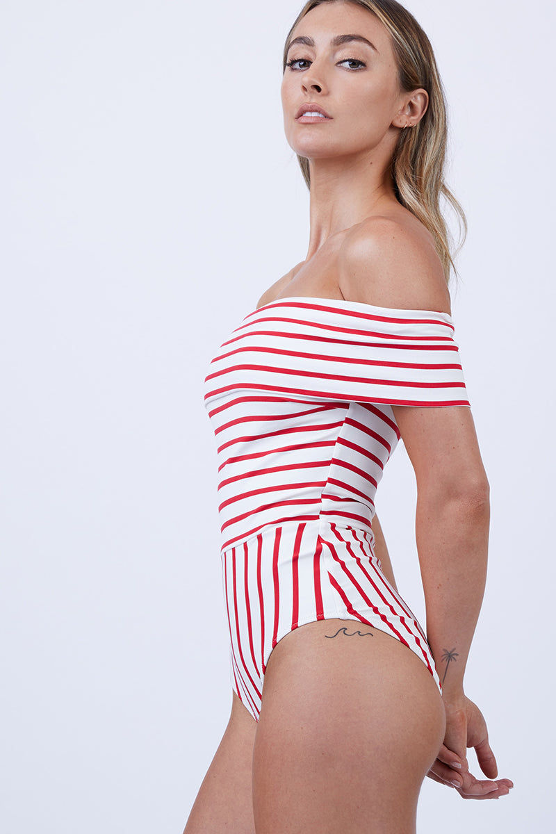 SOLID & STRIPED The Vera Off Shoulder One Piece Swimsuit - Red Breton One Piece   Red Breton  Solid & Striped The Vera Off Shoulder One Piece Swimsuit - Red Breton FEATURES:  Off-Shoulder One Piece Swimsuit Moderate coverage Made in Morocco Shell: 80% Polyester, 20% Elastane Lining: 8% Polyamide, 15% Elastane Side View