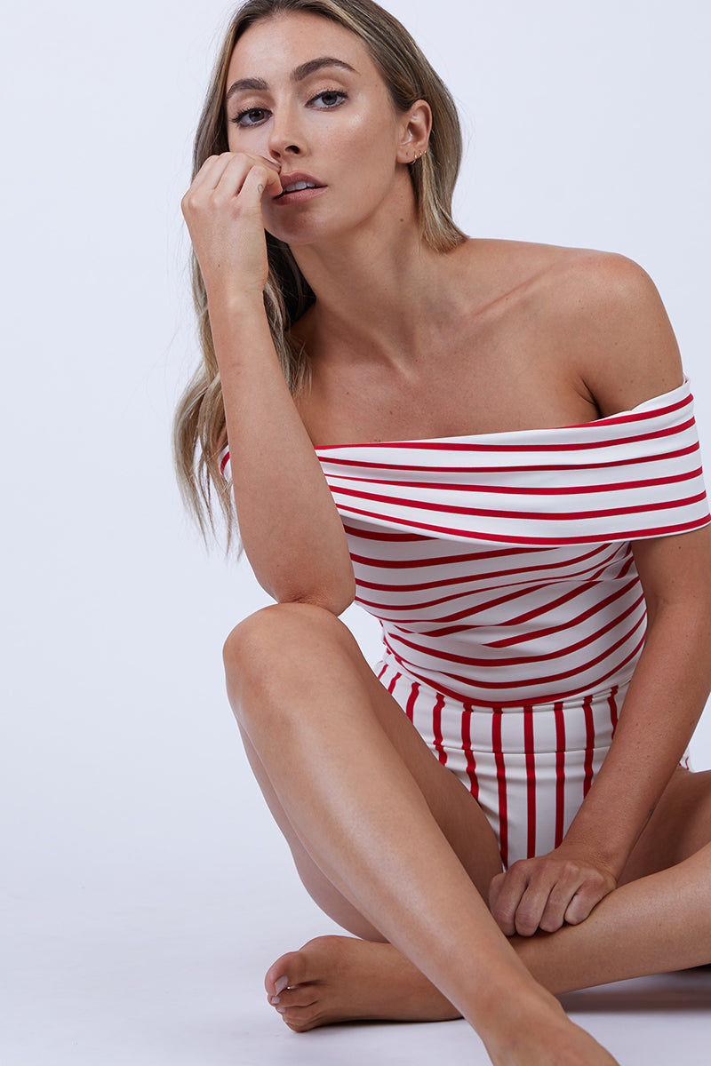 SOLID & STRIPED The Vera Off Shoulder One Piece Swimsuit - Red Breton One Piece   Red Breton  Solid & Striped The Vera Off Shoulder One Piece Swimsuit - Red Breton FEATURES:  Off-Shoulder One Piece Swimsuit Moderate coverage Made in Morocco Shell: 80% Polyester, 20% Elastane Lining: 8% Polyamide, 15% Elastane Front View