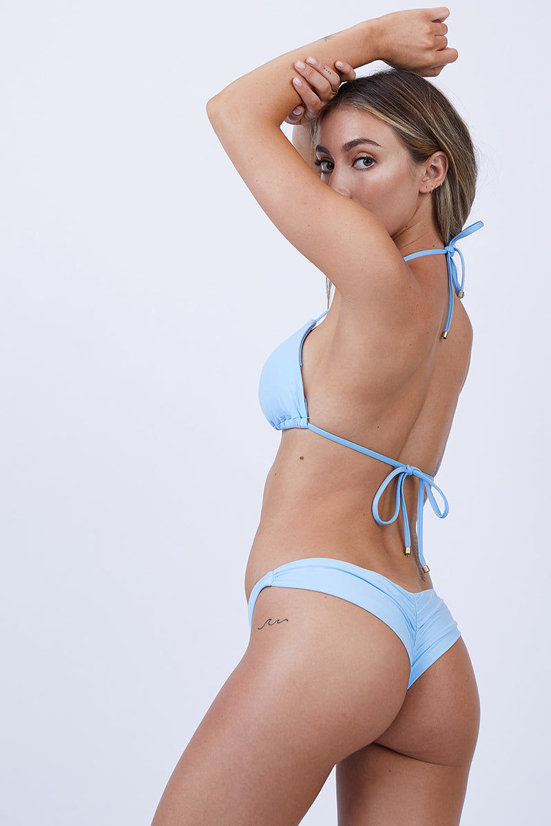 VITAMIN A Samba Ruched Back Bottom - Cielo Bikini Bottom | Cielo| Vitamin A Samba Ruched Back Bottom Back View Low-Rise Hipster Bikini Bottom Wide Side Straps Brazilian Rear Coverage