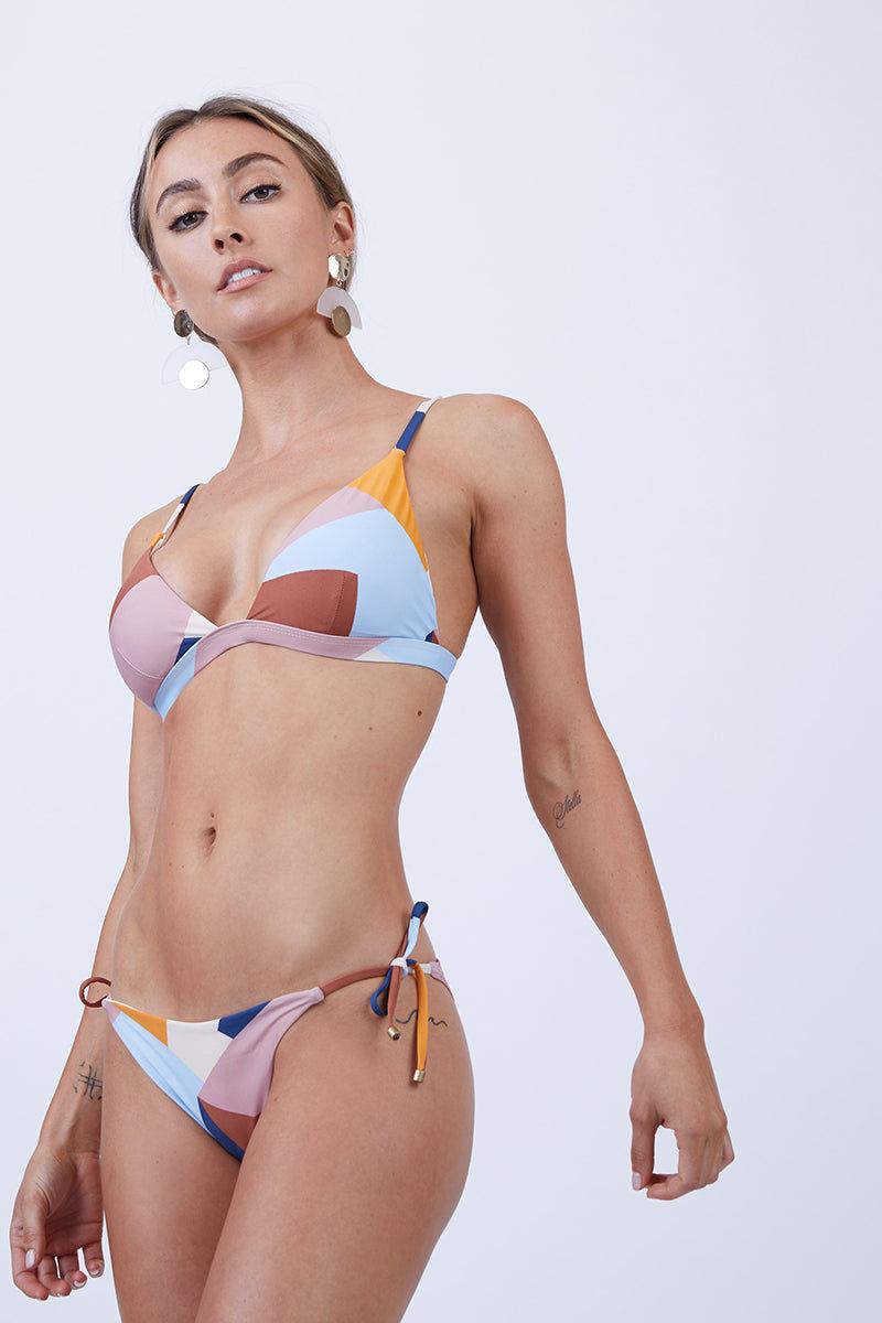 VITAMIN A Moss Top - Mezcal Bikini Top   Mezcal  Vitamin A Moss Top Front View Geometric Print Triangle Bikini Top Adjustable Shoulder Straps Swan Hook Back Closure