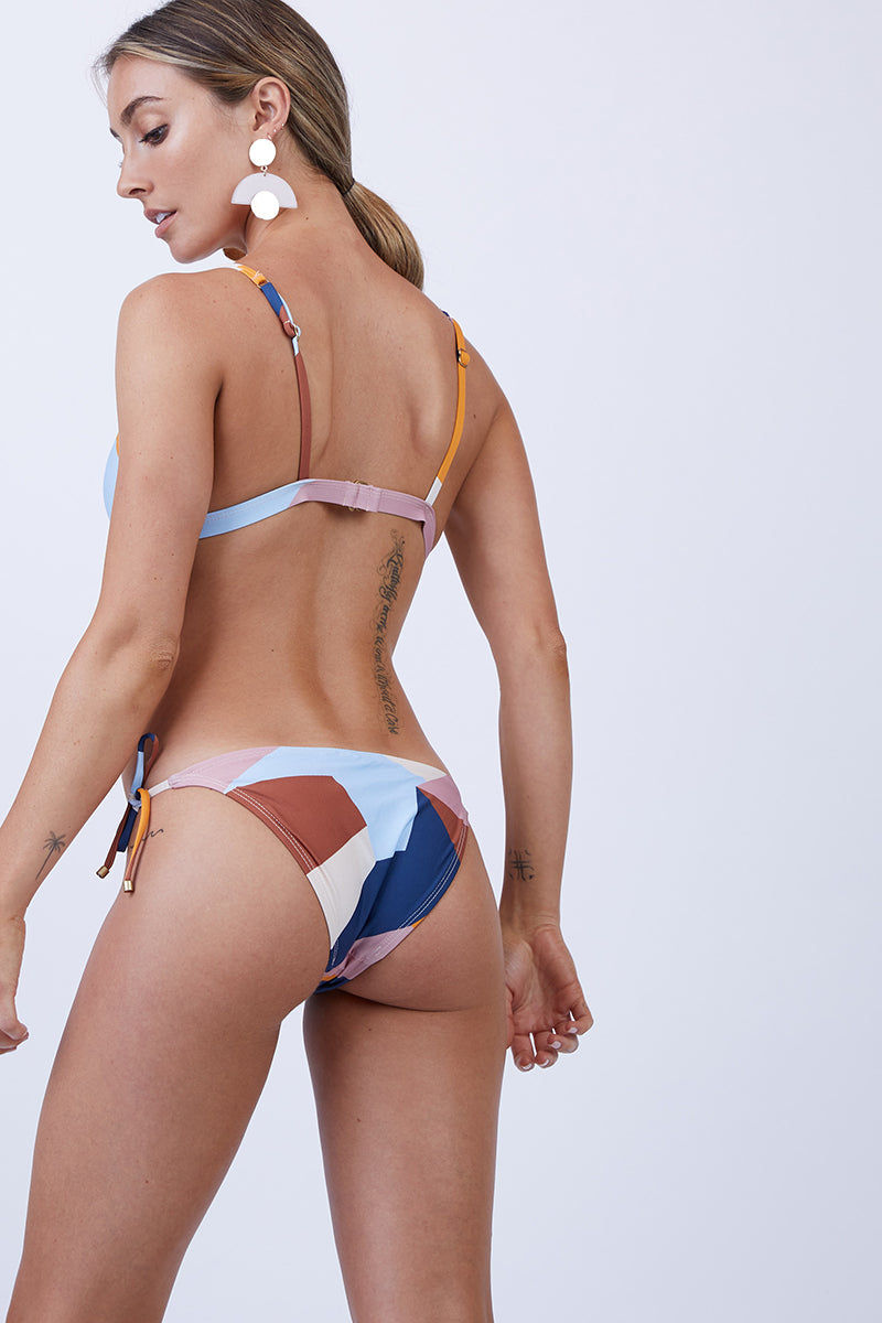 VITAMIN A Elle Tie Side Bottom - Mezcal Bikini Bottom | Mezcal| Vitamin A Elle Tie Side Bottom Back View Classic Low-Rise String Bikini Bottom Multicolor Geometric Print Adjustable Side Ties Cheeky Rear Coverage