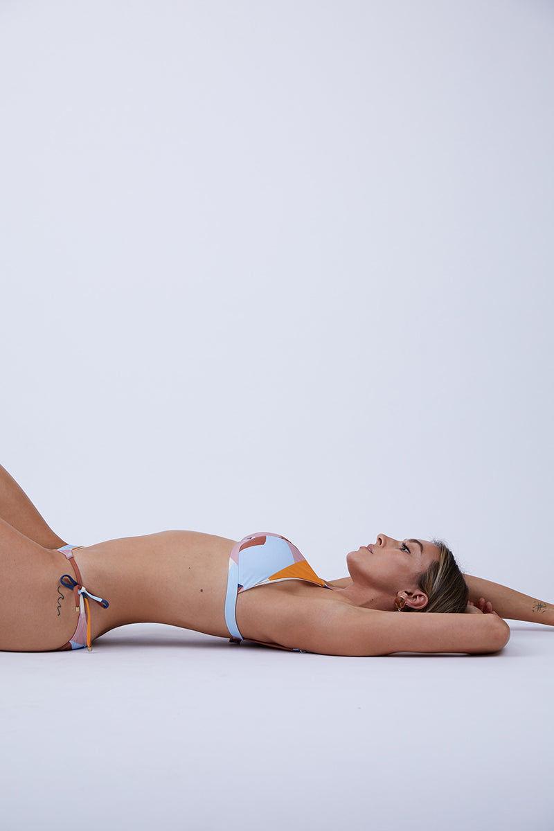 VITAMIN A Moss Top - Mezcal Bikini Top   Mezcal  Vitamin A Moss Top Side View Geometric Print Triangle Bikini Top Adjustable Shoulder Straps Swan Hook Back Closure