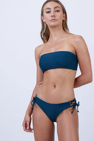 CHEEKY CARLYLE Cazley Reversible Cheeky Bikini Bottom - Jade + Dew Bikini Bottom | Jade + Dew|Cazley Reversible Cheeky Bikini Bottom Front View - Features:  Adjustable lace up ties bikini bottom Cheeky coverage Reversible two colors Seamless Low Rise