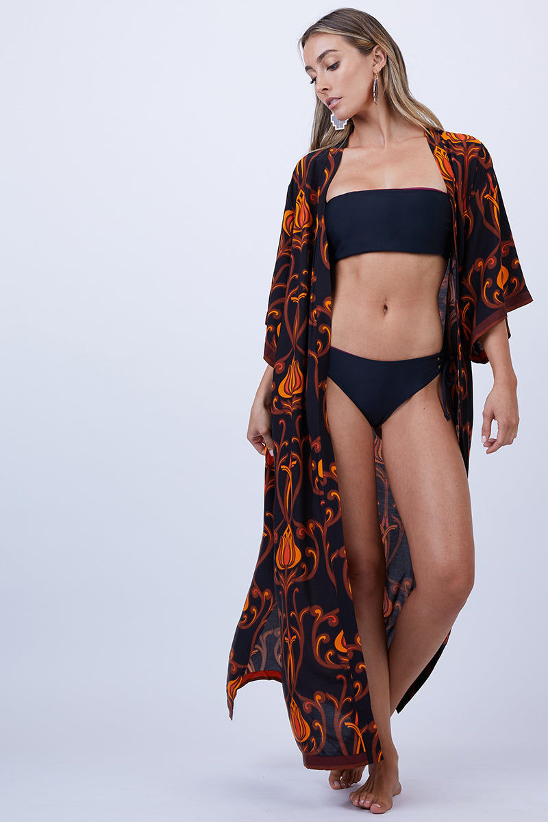 LENNI Roxi Full Length Kimono - Deco Floral Black Cover Up | Deco Floral Black| Lenni Roxi Full Length Kimono - Deco Floral Black. Front View. Features:  Hand-printed deco floral black Full-length kimono falls at ankles Small side slits for ease of movement and flow Wide Sleeves