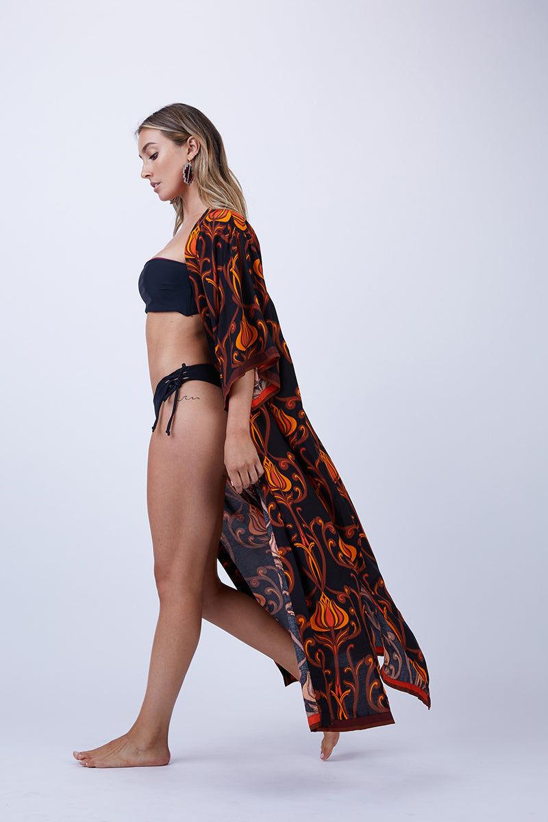 LENNI Roxi Full Length Kimono - Deco Floral Black Cover Up | Roxi Full Length Kimono - Deco Floral Black
