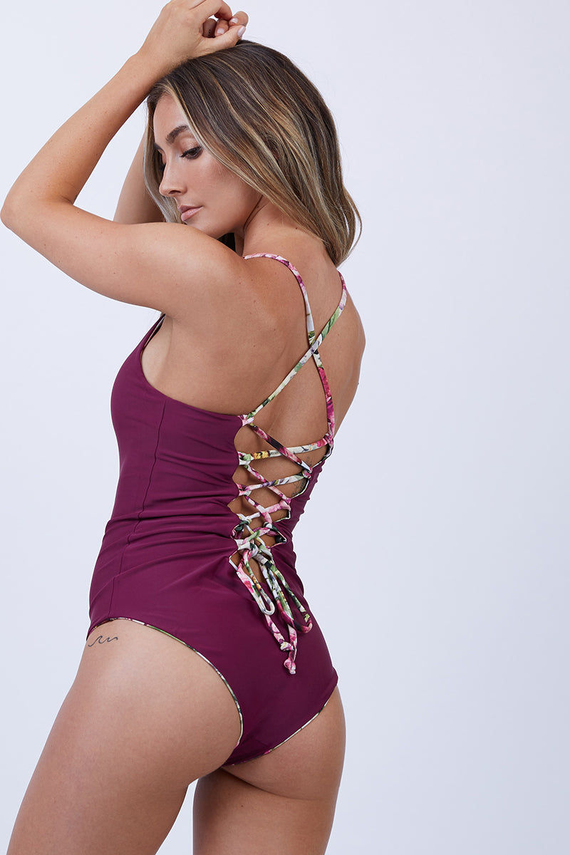 CHEEKY CARLYLE London Reversible One Piece Swimsuit - Vintage Floral + Red Dahlia One Piece | Vintage Floral + Red Dahlia|Cheeky Carlyle London Reversible One Piece Swimsuit - Vintage Floral + Red Dahlia. Back View  - Features:  Lace up adjustable back Reversible two colors Seamless Criss cross back strap