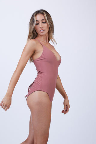 CHEEKY CARLYLE London Reversible One Piece Swimsuit - Jailbreak + Dusty Rose One Piece | Jailbreak + Dusty Rose|Charlies Carlye London Reversible One Piece Swimsuit - Jailbreak + Dusty Rose. Flat Lace View.  Features:  Lace up adjustable back Reversible two colors Seamless Criss cross back strap