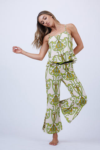 LENNI Solar Fit Flare Leg Crop Pants - Deco Floral Lime Pants | Deco Floral Lime| Lenni Solar Fit Flare Leg Crop Pants - Deco Floral Lime. Front View. Features:  contrasting stripe waistband invisible zip at side and fit flare leg