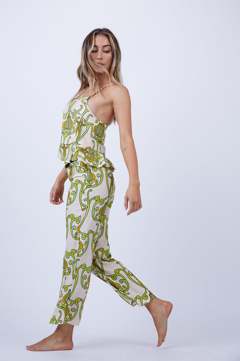 LENNI Solar Racerback Cami - Deco Floral Lime Top | Deco Floral Lime| Lenni Solar Racerback Cami - Deco Floral Lime. Front View. Features:  Narrow adjustable straps to wear high or low. Racerback style cut. Flared frill hem.