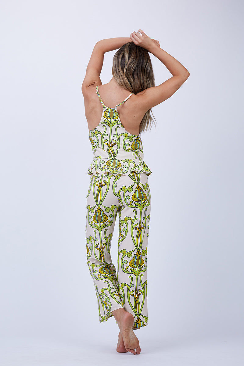 LENNI Solar Fit Flare Leg Crop Pants - Deco Floral Lime Pants | Deco Floral Lime| Lenni Solar Fit Flare Leg Crop Pants - Deco Floral Lime. Back View. Features:  contrasting stripe waistband invisible zip at side and fit flare leg