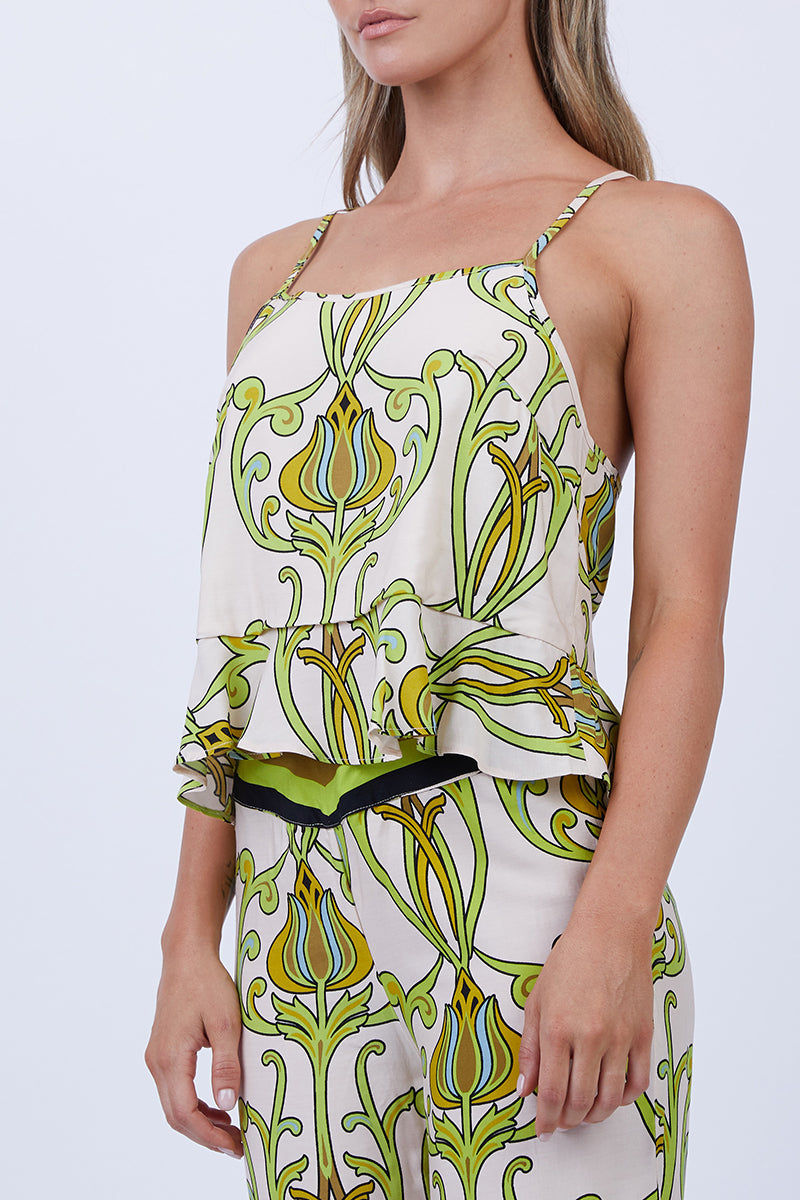 LENNI Solar Racerback Cami - Deco Floral Lime Top | Deco Floral Lime| Lenni Solar Racerback Cami - Deco Floral Lime. Close Up View. Features:  Narrow adjustable straps to wear high or low. Racerback style cut. Flared frill hem.