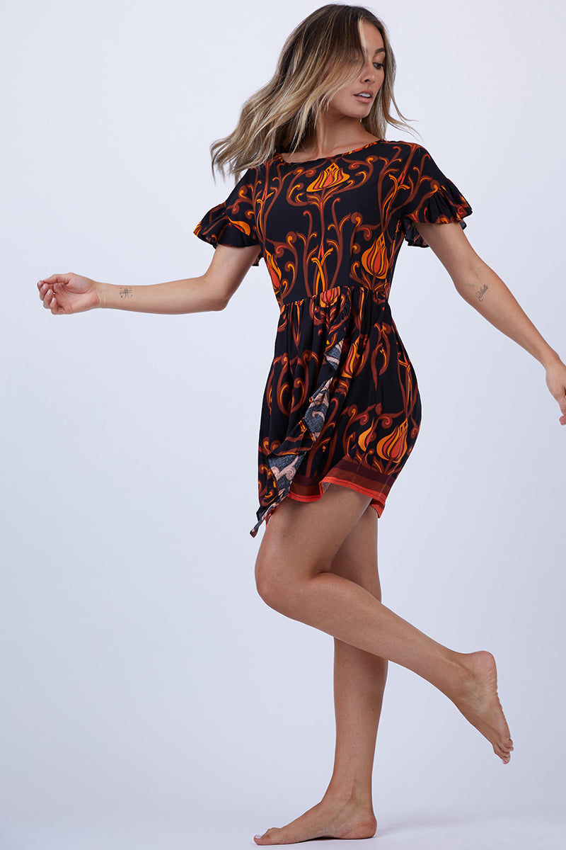 LENNI Sugar Ruffle Mini Dress - Deco Floral Black Dress   Deco Floral Black  Lenni Sugar Ruffle Mini Dress - Deco Floral Black. Front View. Features:  Scoop neckline. Ruffle sleeves. Gathered mini skirt with vertical ruffle feature. Hand stitched detail throughout.