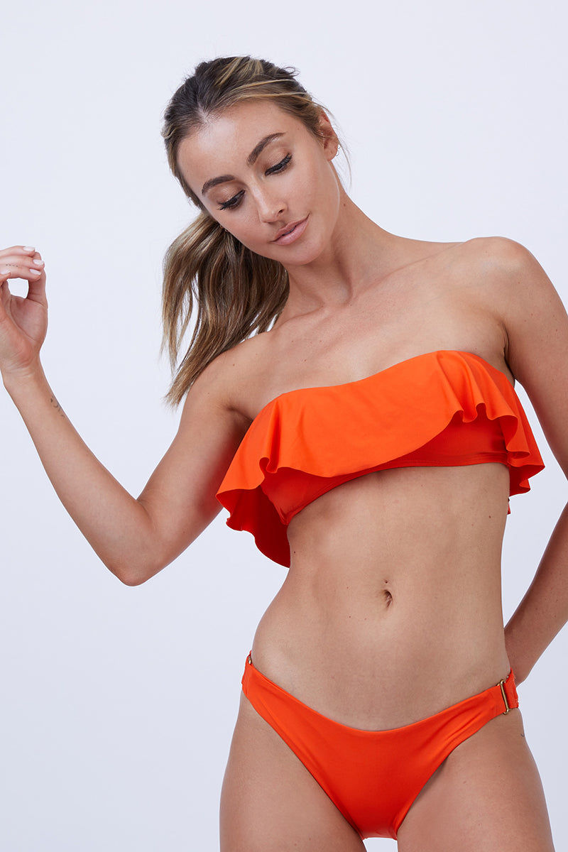 L SPACE Lynn Tube Bikini Top - Poppy Bikini Top | Poppy| L Space Lynn Tube Bikini Top - Poppy. Flounce tube top Bandeau style  Removable pads Made in the USA Front View