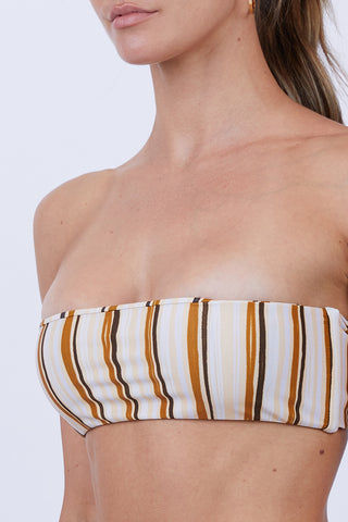 GILLIA Paola Bandeau Bikini Top - Retro Bikini Top | Retro| GILLIA Paola Bandeau Bikini Top - Retro Bandeau  Ties at Center Front or Center Back  Boning Sides  80% Nylon / 20% Spandex Made in Indonesia Close Up View