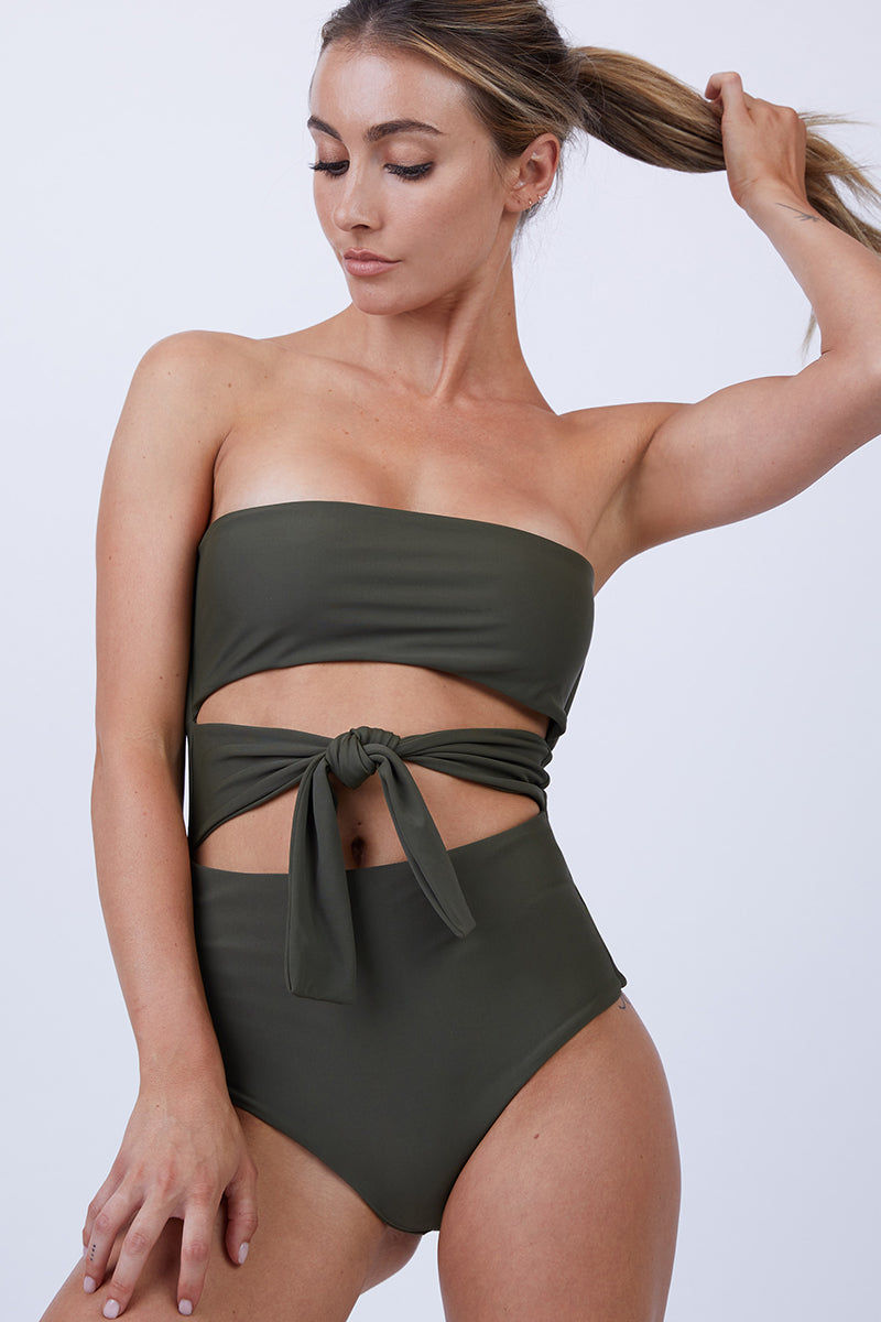 GILLIA Bianca Center Front Tie One Piece Swimsuit - Army One Piece   Army  GILLIA Bianca Center Front Tie One Piece Swimsuit - Army Strapless bandeau one piece Front tie detail Open cut out detail High waist bottom Moderate coverage bottom Front View