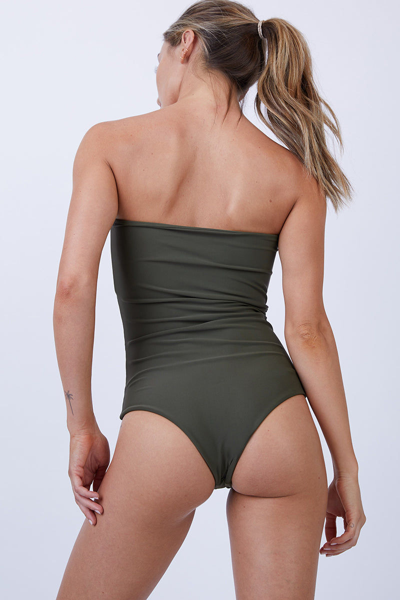 GILLIA Bianca Center Front Tie One Piece Swimsuit - Army One Piece   Army  GILLIA Bianca Center Front Tie One Piece Swimsuit - Army Strapless bandeau one piece Front tie detail Open cut out detail High waist bottom Moderate coverage bottom Back View