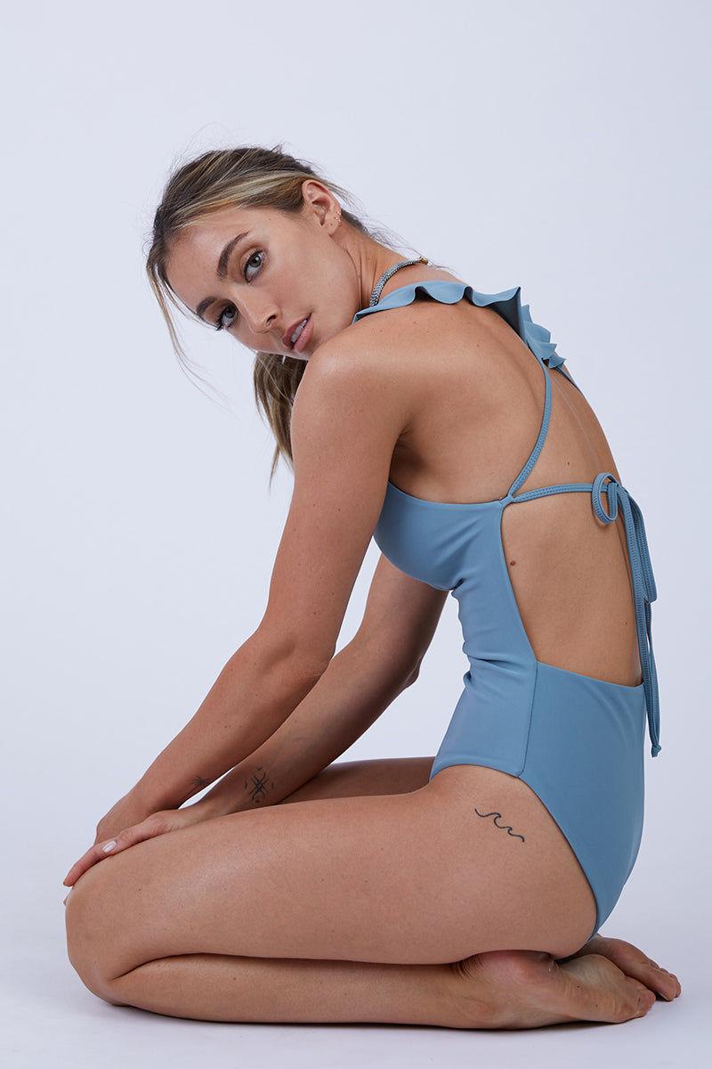88c375d3b35 GILLIA Lillian Ruffle One Piece Swimsuit - Steel | BIKINI.COM