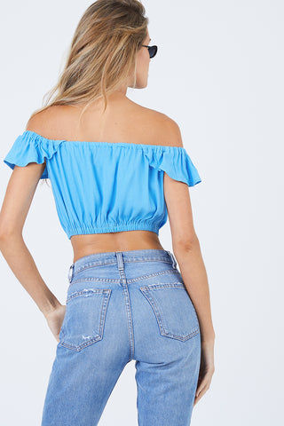 FLYNN SKYE Tori Off The Shoulder Flowy Sleeve Crop Top - Skyfall Top | Skyfall| Flynn Skye Tori Top - Skyfall| Flynn Skye Tori Crop Top - Skyfall Crop Top Off Shoulder Elastic Sleeves Front Button Detail  Elastic Band Made in LA  Back View