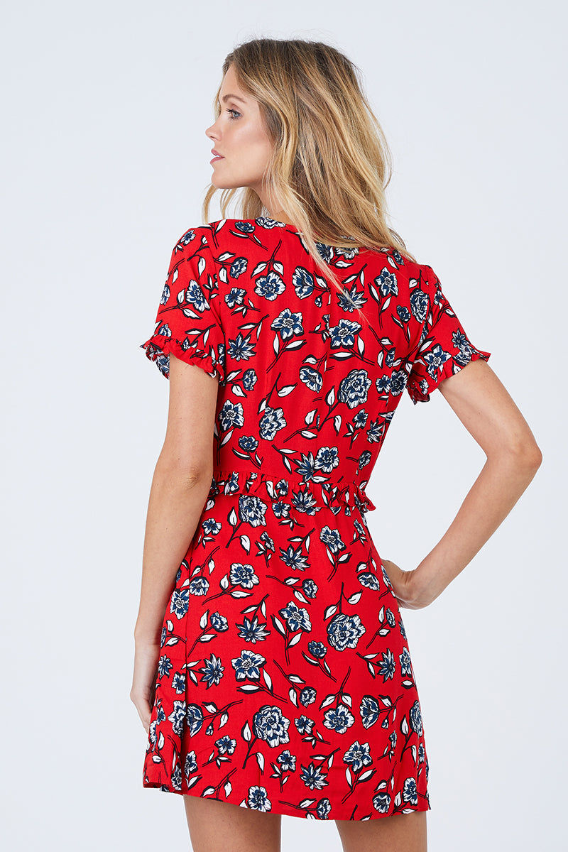 MINKPINK Terrace Short Sleeve Dress - Red Floral Dress | Red Floral| MinkPink Terrace Short Sleeve Dress - Red Floral Short Sleeve Dress V Neckline Ruched Bust With Tie Detail Ruffle Detail Hidden Side Zipper Closure Self & Lining: 100% Viscose Back View