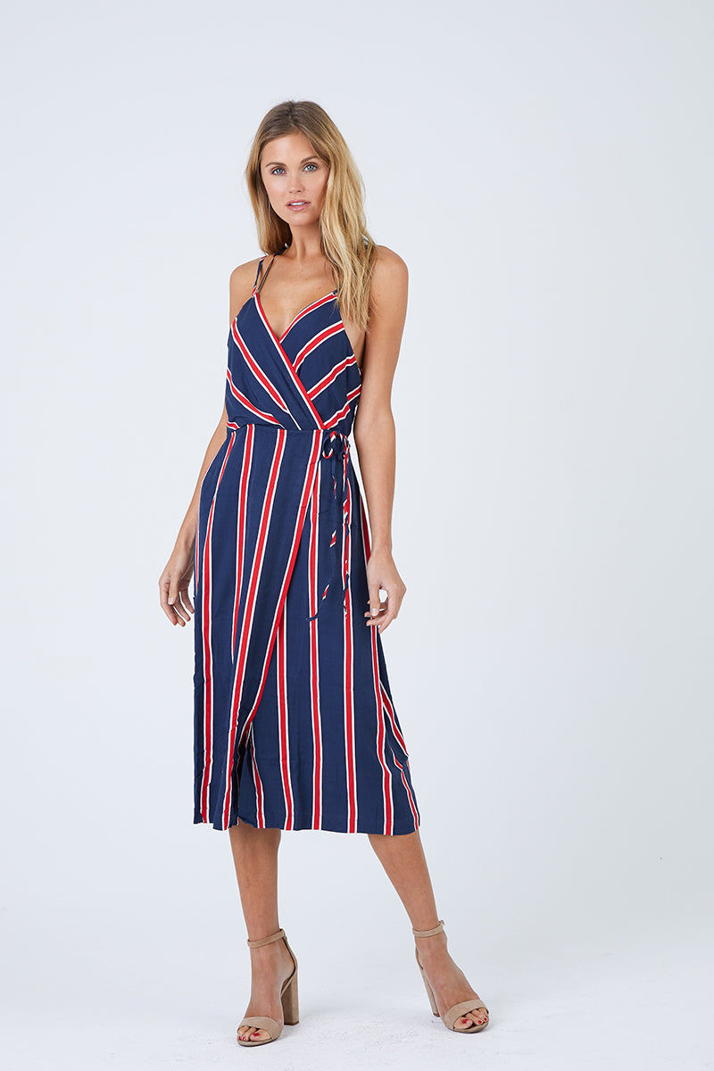 MINKPINK Nautica Midi Dress - Navy & Red Stripes Dress | Navy & Red Stripes| MinkPink Nautica Midi Dress - Navy & Red Stripes.Features:  Adjustable shoulder straps V neckline Wrap front with tie closure Fully lined 100% Viscose Front View