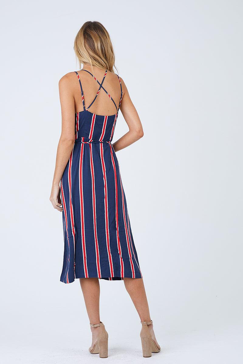 MINKPINK Nautica Midi Dress - Navy & Red Stripes Dress | Navy & Red Stripes| MinkPink Nautica Midi Dress - Navy & Red Stripes