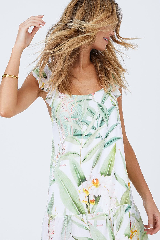 MALAI Sweet Tea Dress - Silent Vegflor Dress   Silent Vegflor  Malai Sweet Tea Dress - Silent Vegflor. Features:   Mini Short Dress Ruffle Shoulder Detail Low Scoop Back Front View