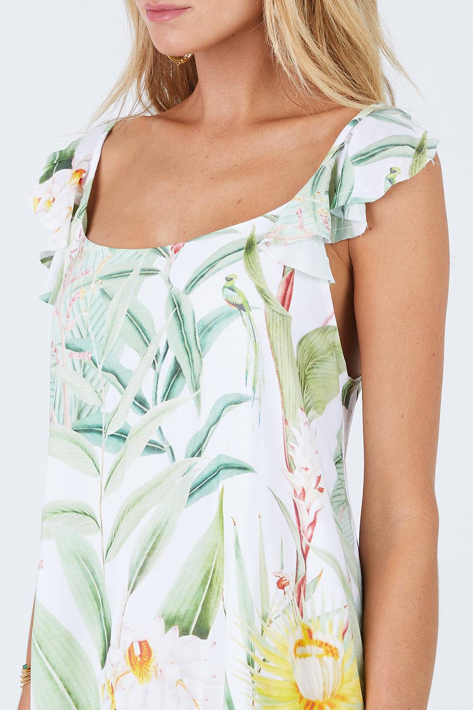 MALAI Sweet Tea Dress - Silent Vegflor Dress | Silent Vegflor| Malai Sweet Tea Dress - Silent Vegflor. Features:   Mini Short Dress Ruffle Shoulder Detail Low Scoop Back Front View