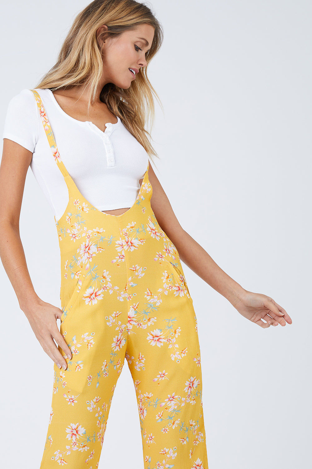 FLYNN SKYE Easy Rider Jumper - Touch Of Honey Jumpsuit | Touch Of Honey| Flynn Skye Easy Rider Jumper - Touch Of Honey Overall jumper Wide leg Thin straps at hight of waist Dry clean Made in Los Angeles Front View