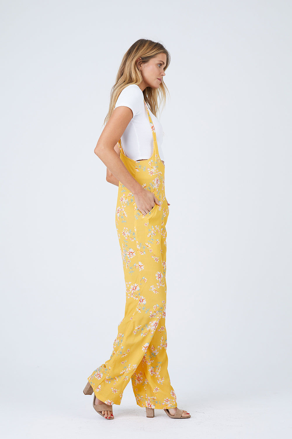 FLYNN SKYE Easy Rider Jumper - Touch Of Honey Jumpsuit | Touch Of Honey| Flynn Skye Easy Rider Jumper - Touch Of Honey Overall jumper Wide leg Thin straps at hight of waist Dry clean Made in Los Angeles Side View