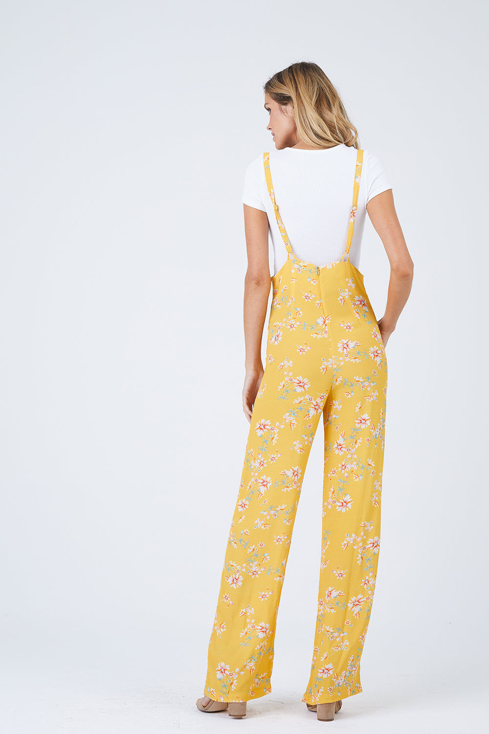 FLYNN SKYE Easy Rider Jumper - Touch Of Honey Jumpsuit | Touch Of Honey| Flynn Skye Easy Rider Jumper - Touch Of Honey Overall jumper Wide leg Thin straps at hight of waist Dry clean Made in Los Angeles Back View