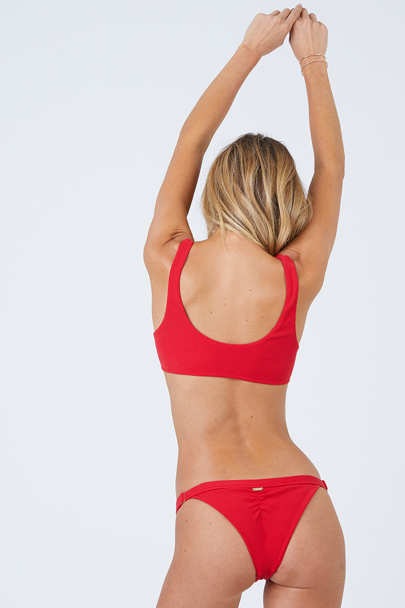BEACH BUNNY Rib Tide Bralette Bikini Top - Red Bikini Top | Red| Beach Bunny Rib Tide Bralette Bikini Top - Red Bralette Snap button front Front knot detail Ribbed fabric Front View