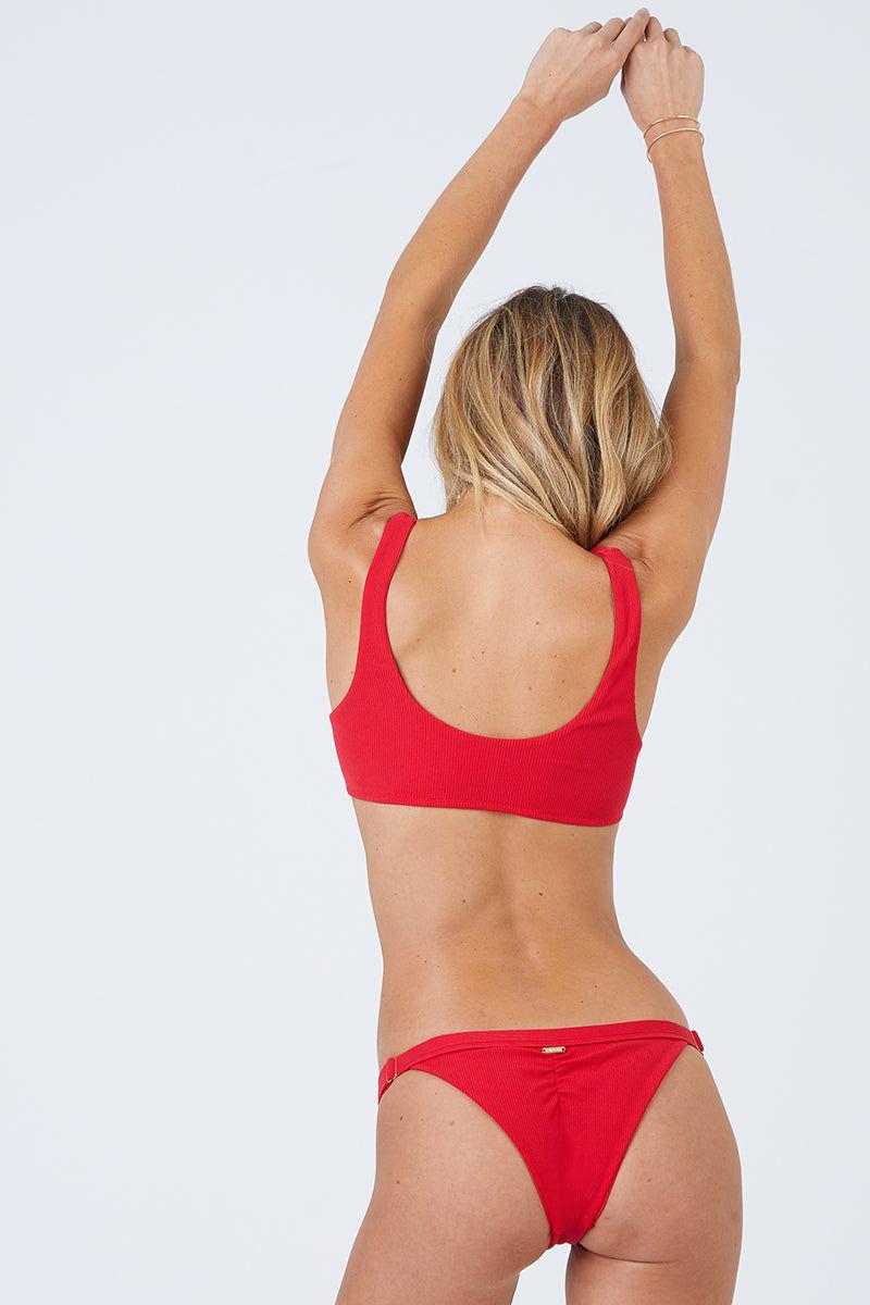 BEACH BUNNY Rib Tide Skimpy Bikini Bottom - Red Bikini Bottom | Red| Beach Bunny Rib Tide Skimpy Bikini Bottom - Red Adjustable Side Straps Brazilian Cut Skimpy Coverage  High Cut Leg Front View