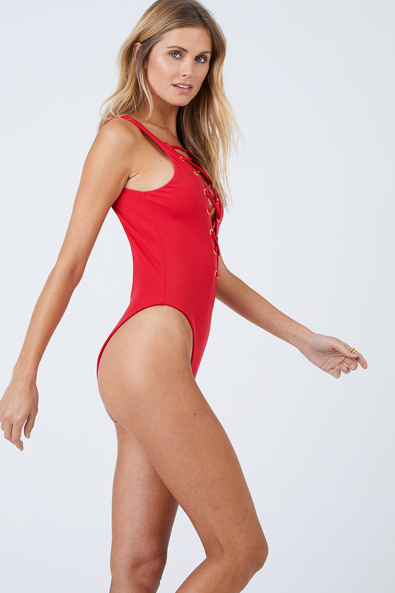 BEACH BUNNY Rib Tide Lace Up Front One Piece Swimsuit - Red One Piece   Red  Beach Bunny Rib Tide Lace Up Front One Piece Swimsuit - Red Rib tide one piece Plunging neckline Lace-up details in the front Open back High leg cut Front View