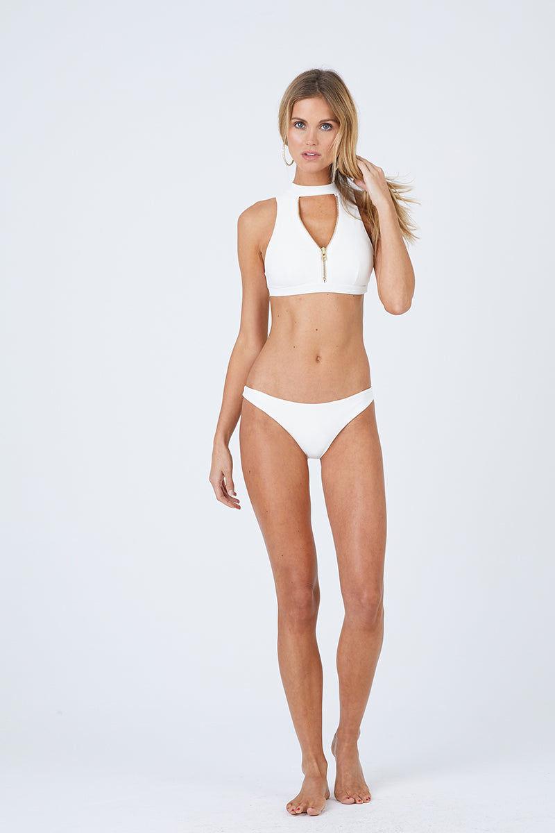 BEACH BUNNY Zoey Skimpy Bikini Bottom - Ivory Bikini Bottom | Ivory| Beach Bunny Zoey Skimpy Bikini Bottom - Ivory Low Rise Skimpy Coverage Back Zipper Detail  Front View