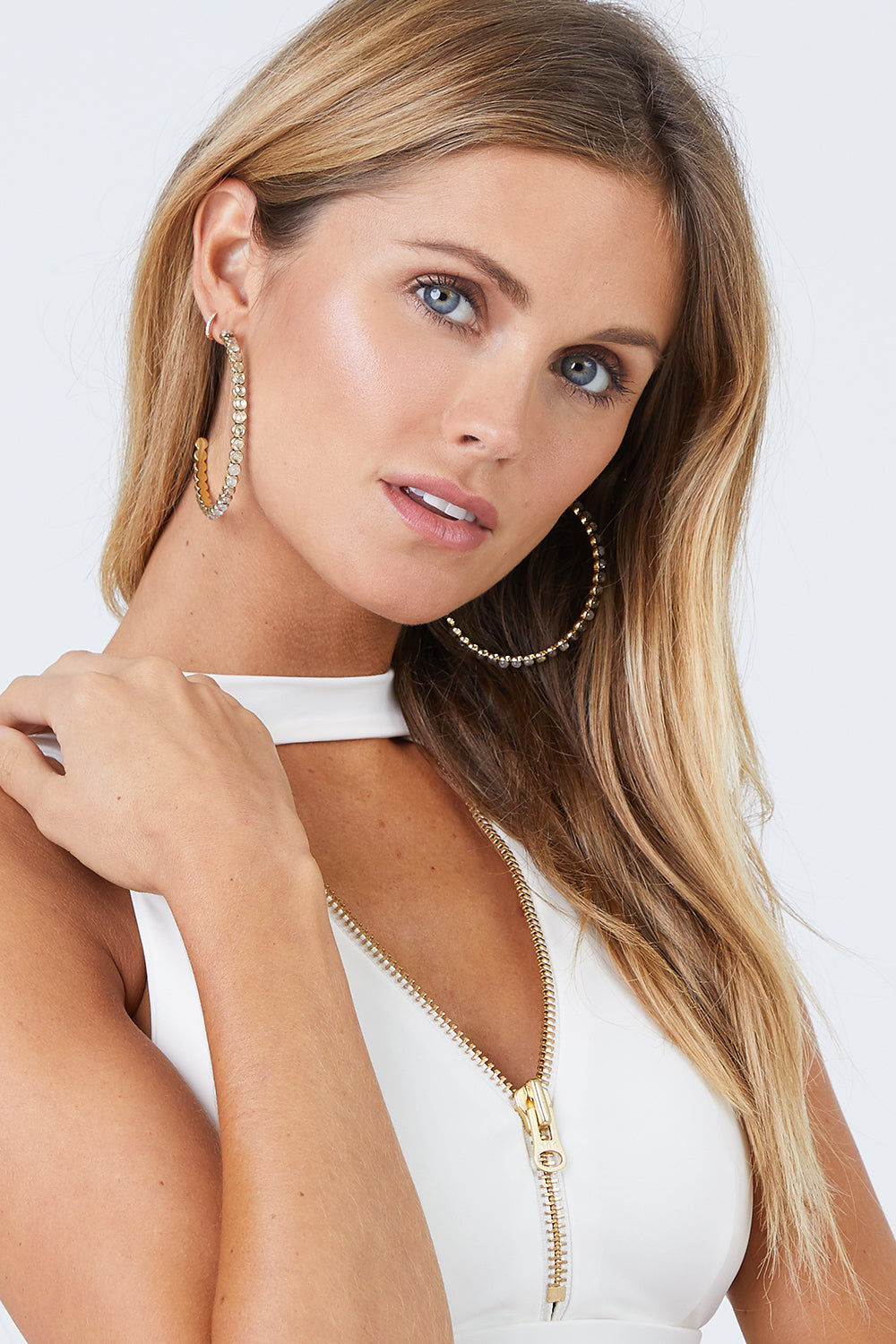 """LUV AJ The Oversized Quartz Stud Hoop Earrings - Gold Jewelry 