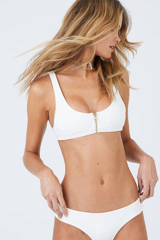 BEACH BUNNY Zoey Tango Cheeky Bikini Bottom - Ivory Bikini Bottom | Ivory| Beach Bunny Zoey Tango Cheeky Bikini Bottom - Ivory Low Rise Hipster Cheeky Coverage Back Zipper Detail Back View