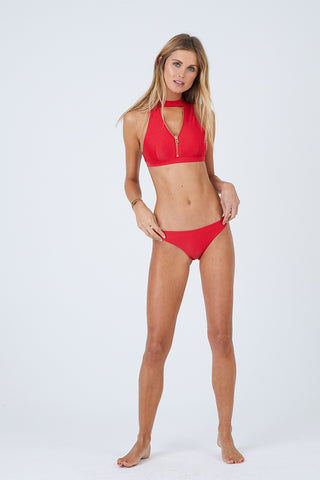 BEACH BUNNY Zoey Skimpy Bikini Bottom - Red Bikini Bottom | Red| Beach Bunny Zoey Skimpy Bikini Bottom - Red Low Rise Skimpy Coverage Back Zipper Detail  Back View