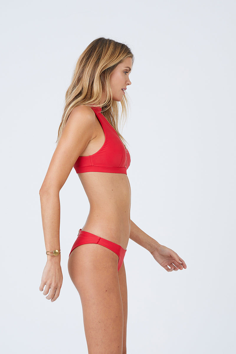 BEACH BUNNY Zoey High Neck Bikini Top - Red Bikini Top | Red| Beach Bunny Zoey High Neck Bikini Top - Red Zip up front detail Plunging  v-neck Choker detail with hook closure Open back cut out  Front View