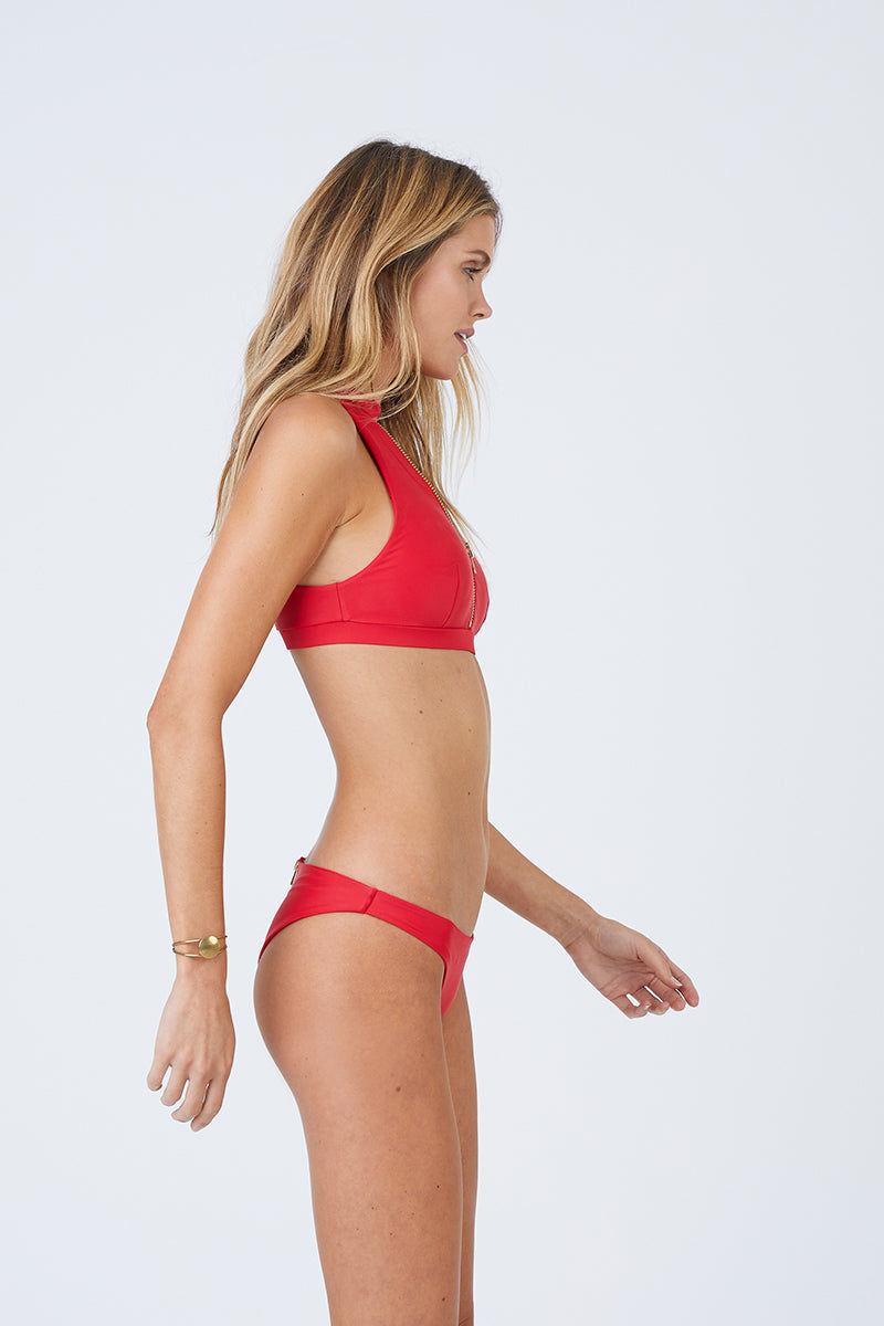 BEACH BUNNY Zoey Cheeky Back Zipper Bikini Bottom - Red Bikini Bottom | Red| Beach Bunny Zoey Cheeky Back Zipper Bikini Bottom - Red Low Rise Skimpy Coverage Back Zipper Detail  Side View